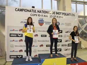 Daria Lucan loc I și nou record național la 50 metri Bras și  Maria Verciuc, locul III în aceeași probă