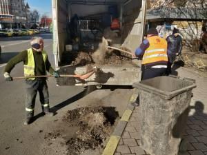 Campanie de curățenie stradală, demarată în plină iarnă